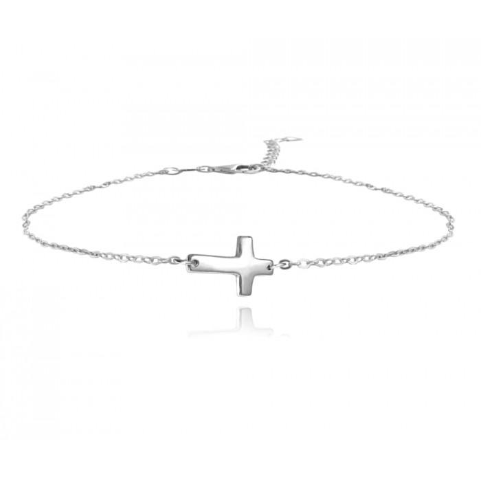 Bransoletka srebrna - krzyż