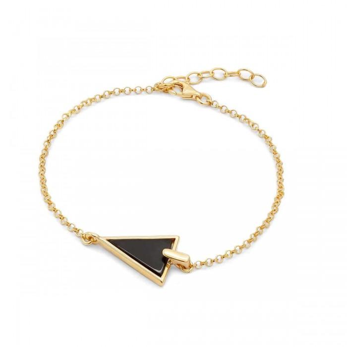 Bransoletka srebrna pozłacana trójkąt z onyksem