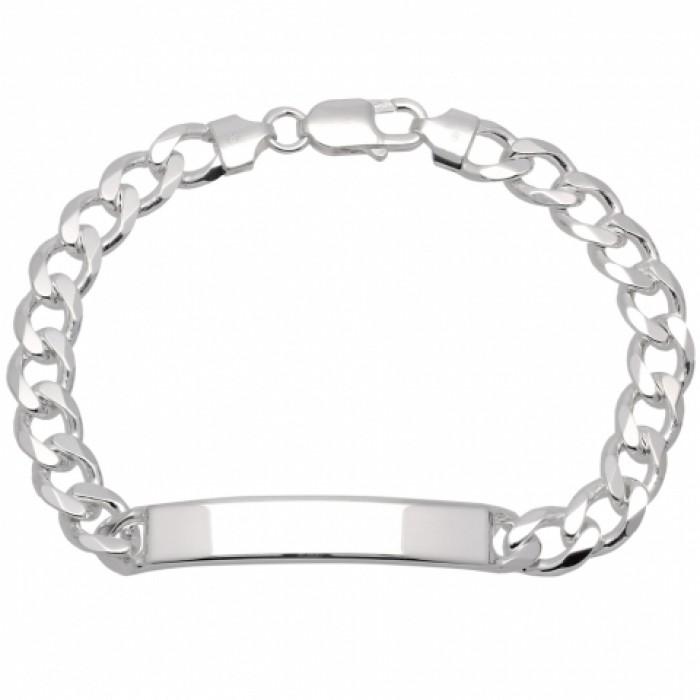 Bransoleta srebrna rodowana - pancerka z blaszką