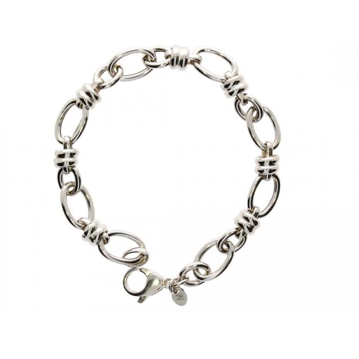 Bransoletka srebrna rodowana - ogniwa owale