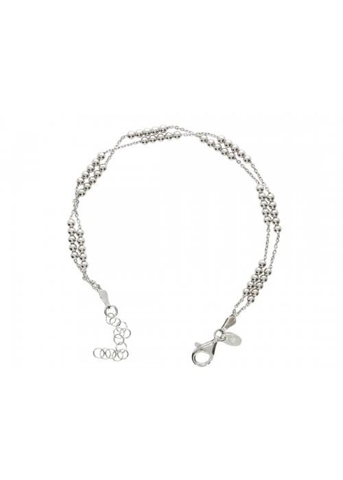 Bransoletka srebrna rodowana podwójna - splot kulkowy