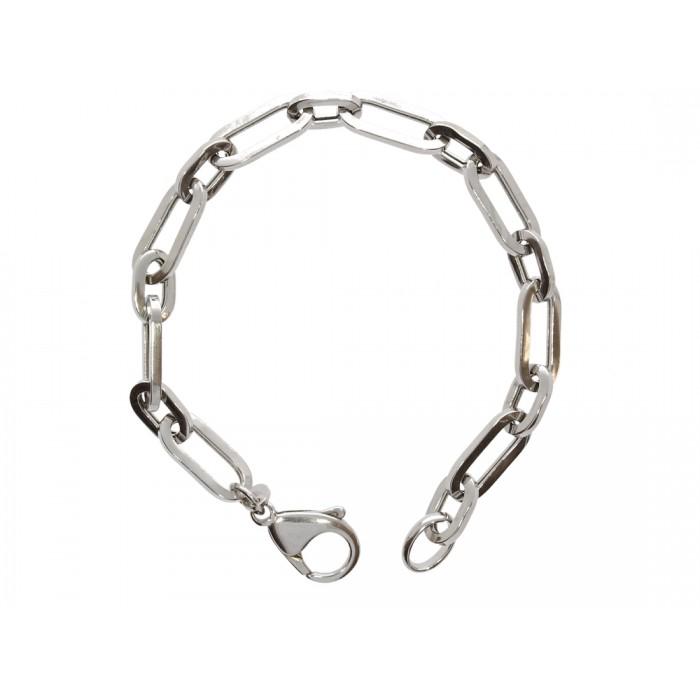 Bransoletka srebrna rodowana - ogniwa (paper clip)