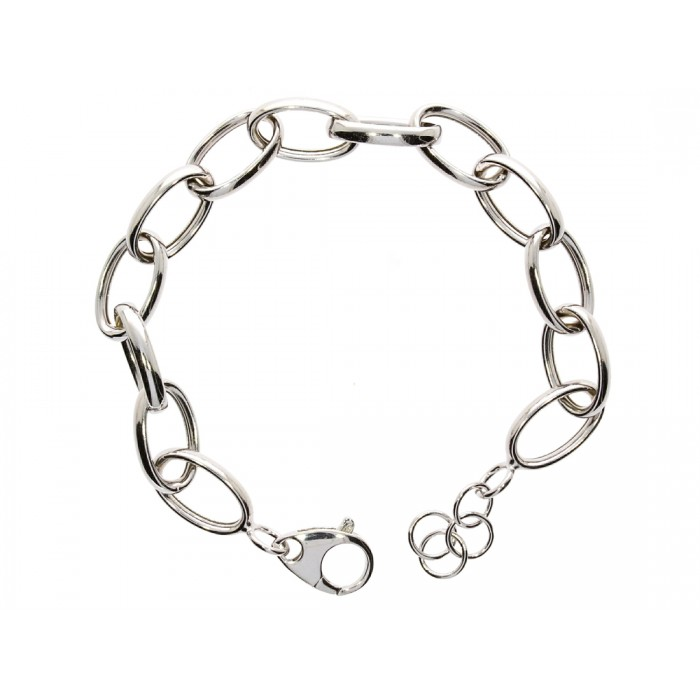 Bransoletka srebrna rodowana - owalne ogniwa