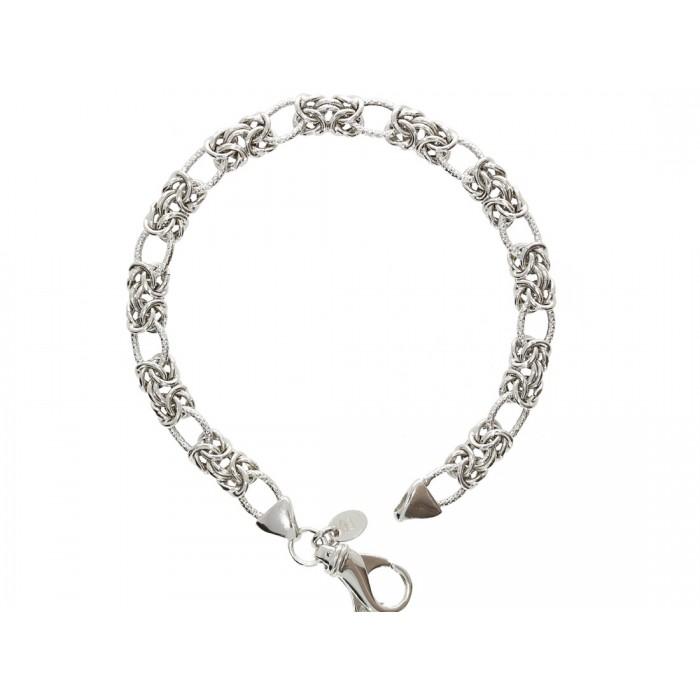 Bransoletka srebrna rodowana - splot królewski