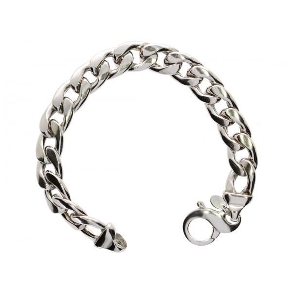 Bransoleta srebrna rodowana - ciężka pancerka