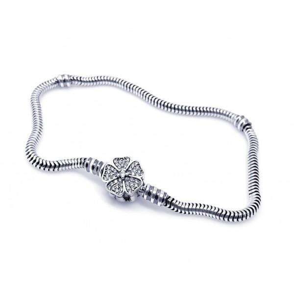Bransoletka srebrna modułowa  - charms koniczyna