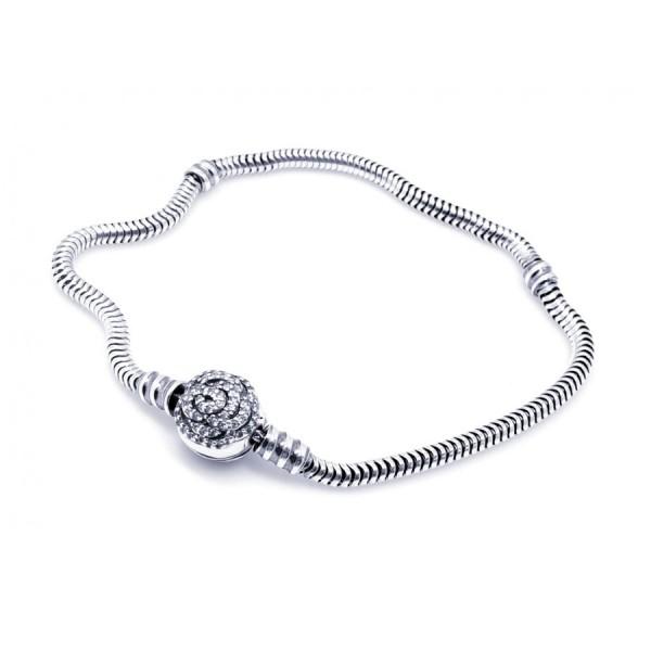 Bransoletka srebrna modułowa  - charms róża