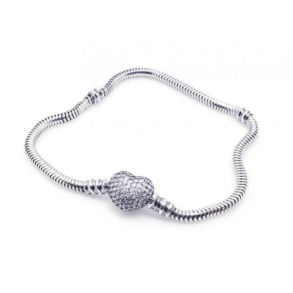 Bransoletka srebrna modułowa  - charms serce