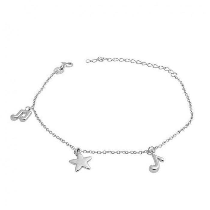 Bransoletka srebrna - nutki z gwiazdką