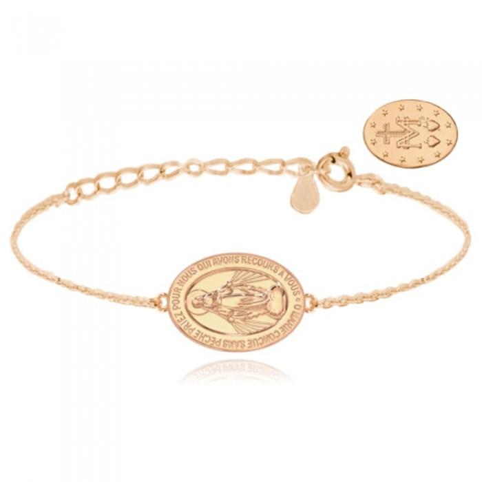 Bransoletka srebrna rose gold z cudownym medalikiem