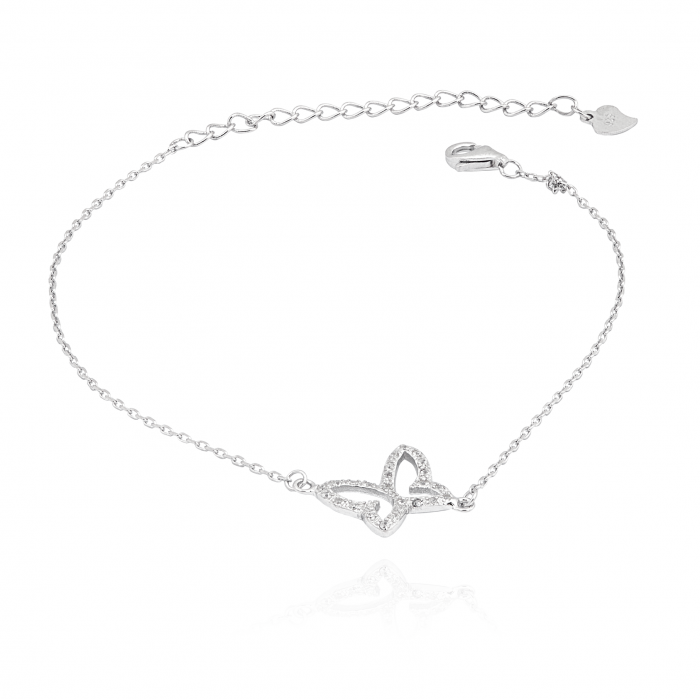 Bransoletka srebrna z cyrkoniami - motyl