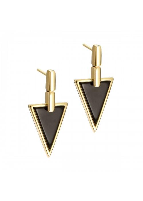 Kolczyki srebrne pozłacane trójkąty z onyksem