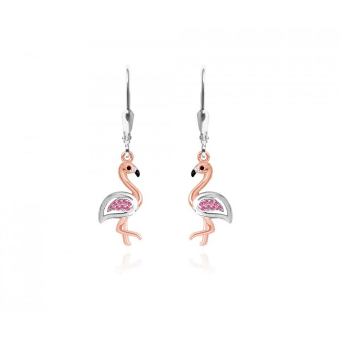Kolczyki srebrne z cyrkoniami - flamingi