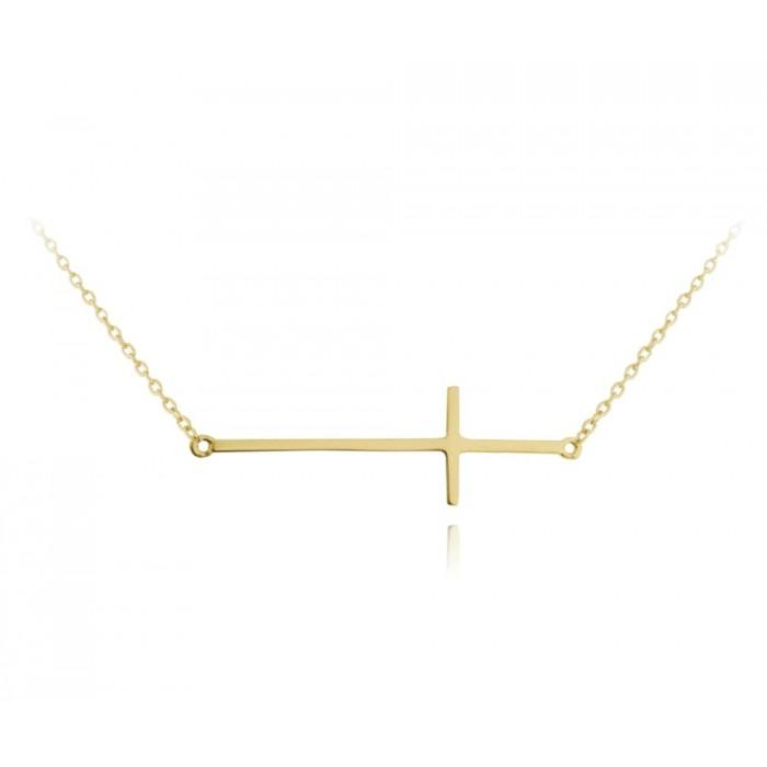 Naszyjnik srebrny pozłacany - krzyż