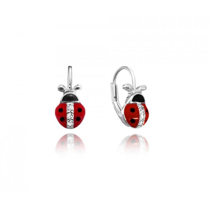 Kolczyki srebrne - biedronki czerwone