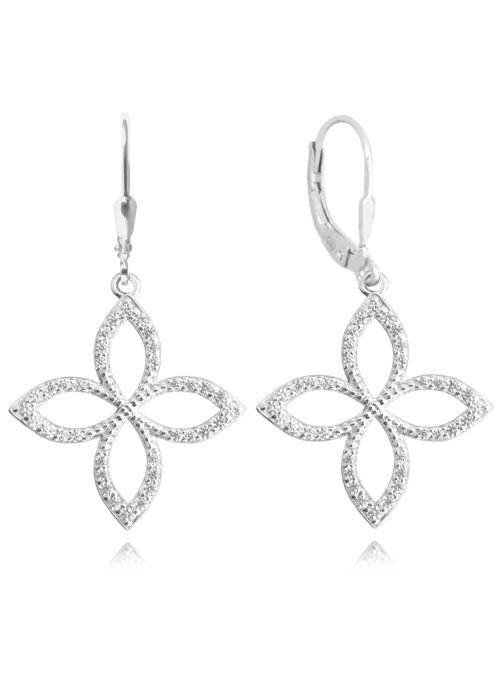 Kolczyki srebrne - czterolistny kwiat