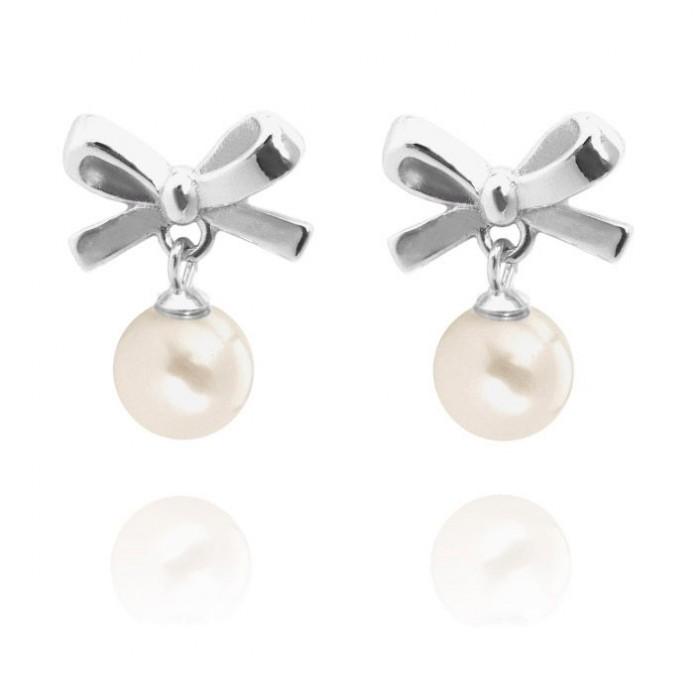 Kolczyki srebrne - kokardki z perłami
