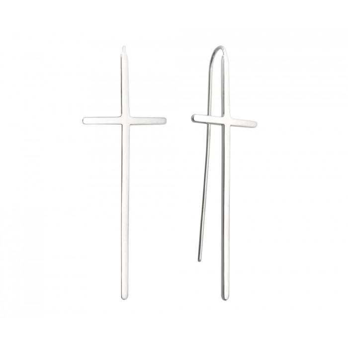 Kolczyki srebrne - krzyż