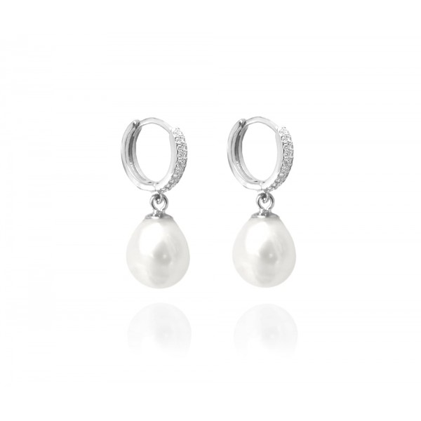 Kolczyki srebrne - naturalne perły z cyrkoniami