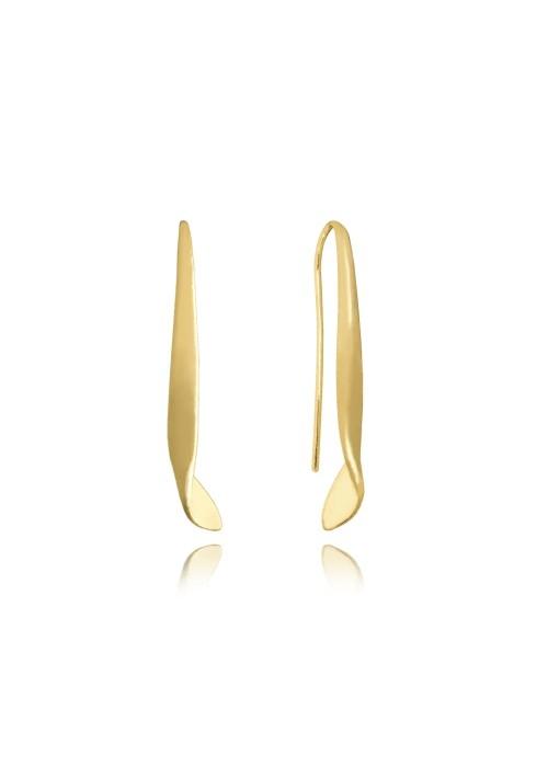 Kolczyki srebrne pozłacane - błyszczące skręcone