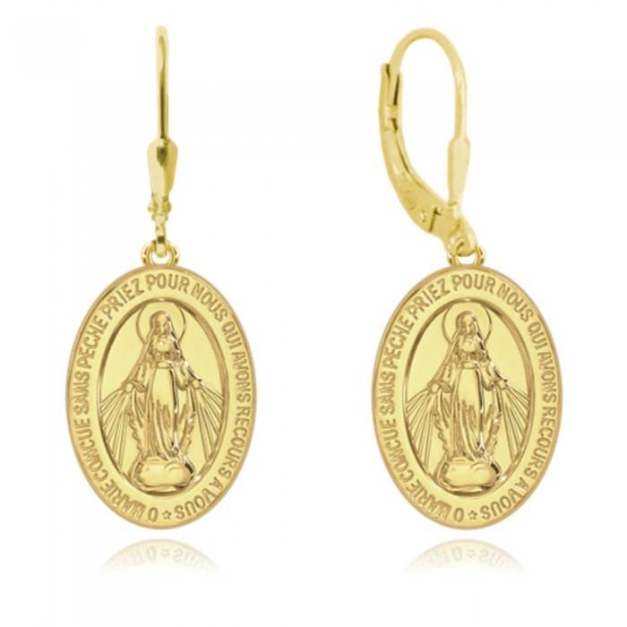 Kolczyki srebrne pozłacane - cudowny medalik