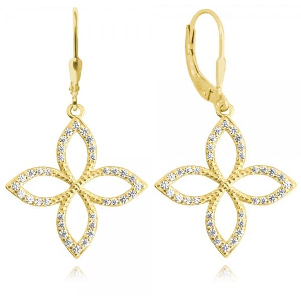 Kolczyki srebrne pozłacane - czterolistny kwiat
