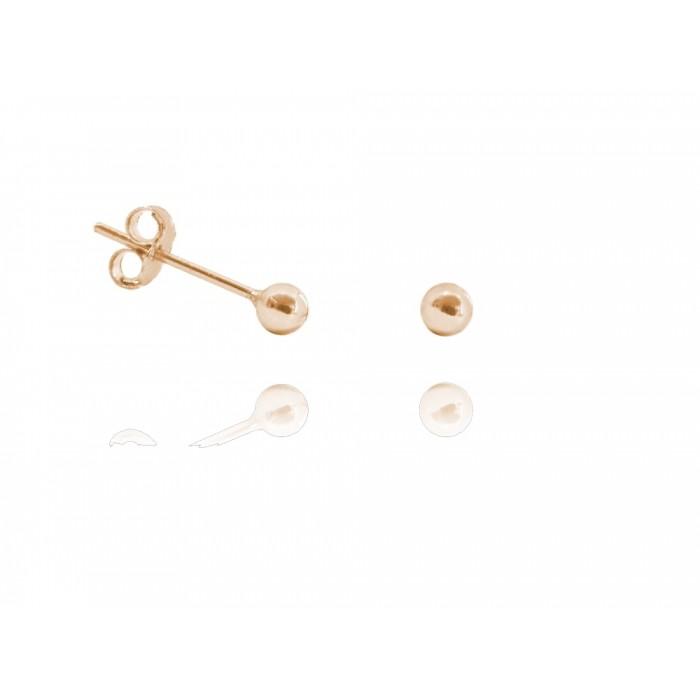 Kolczyki srebrne pozłacane na różowo (rose gold) - małe kulki 3 mm