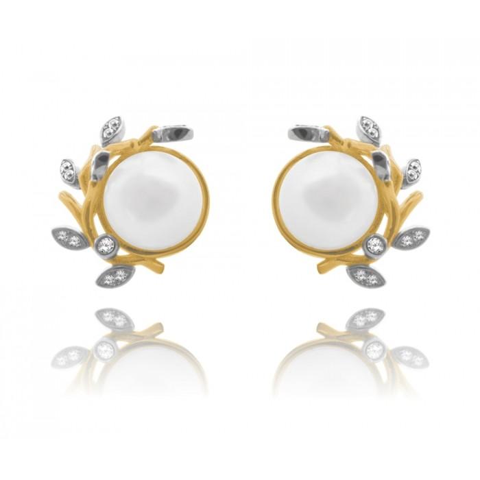 Kolczyki srebrne pozłacane z perłą