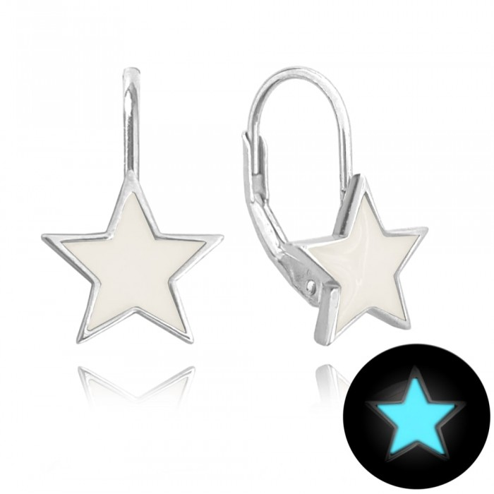Kolczyki srebrne - świecące gwiazdy białe