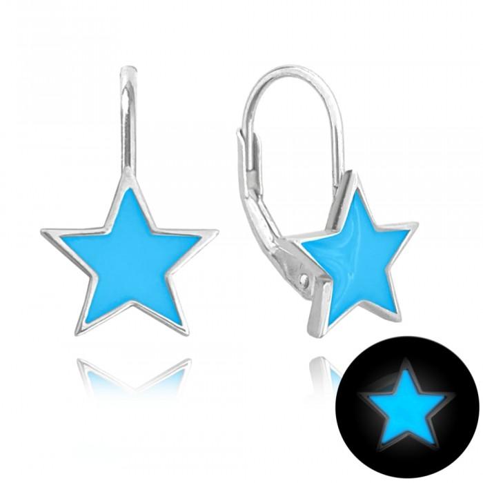 Kolczyki srebrne - świecące gwiazdy niebieskie