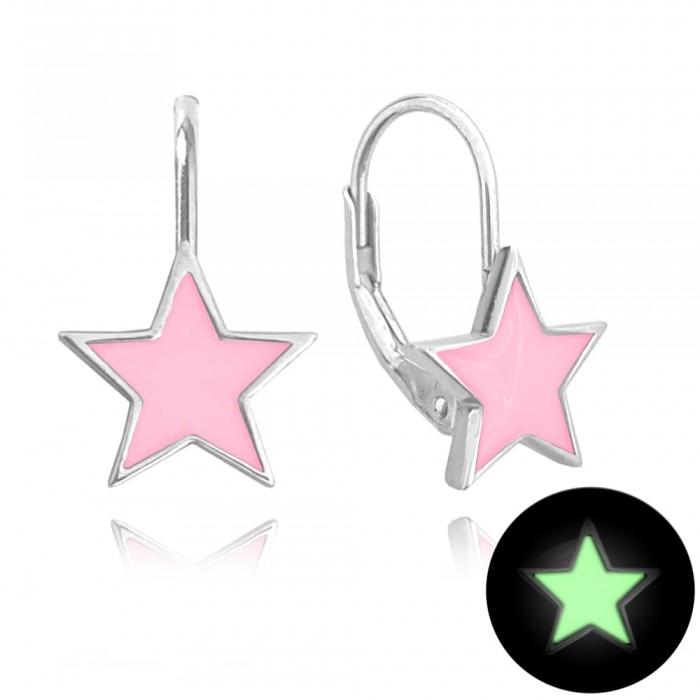 Kolczyki srebrne - świecące gwiazdy różowe