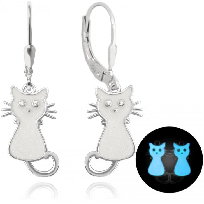 Kolczyki srebrne - świecące koty białe