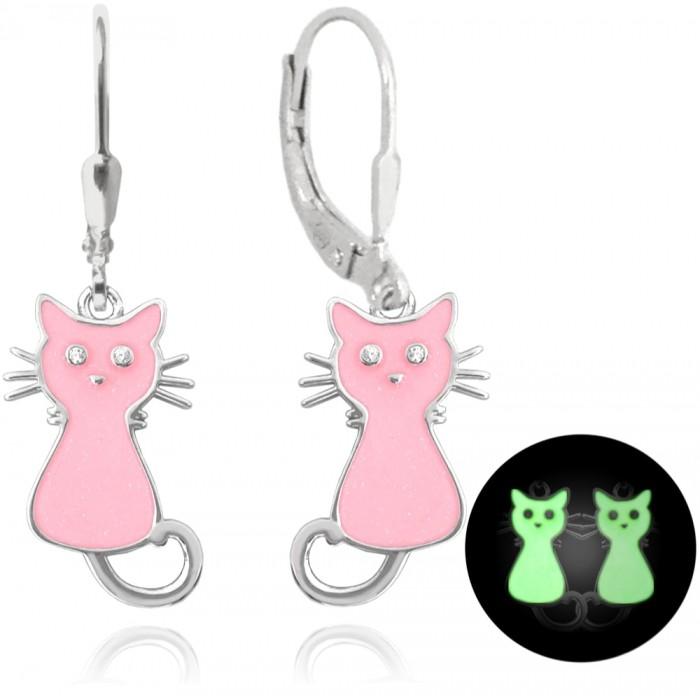 Kolczyki srebrne - świecące koty różowe