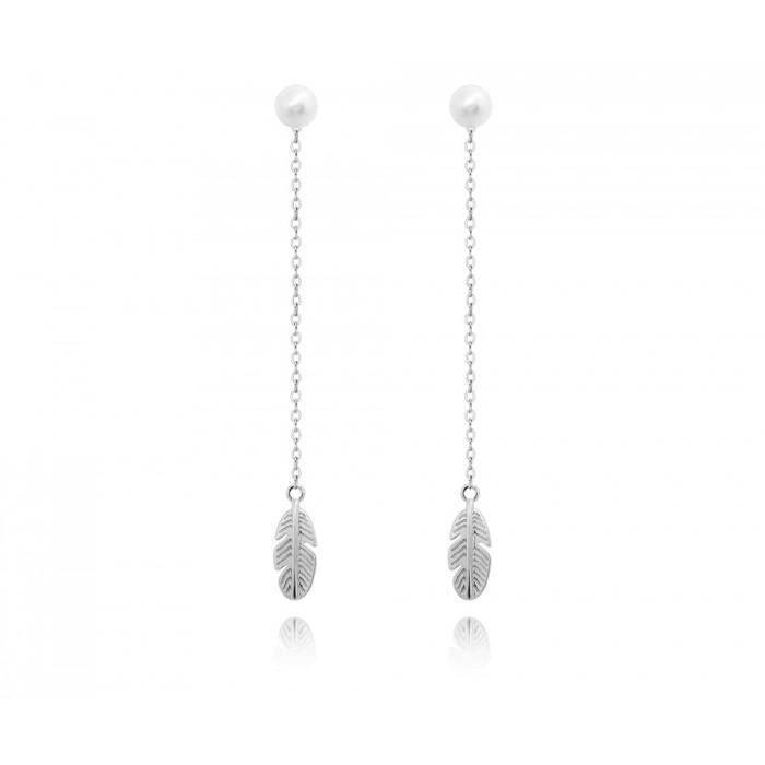 Kolczyki srebrne - wiszące piórka z perłami