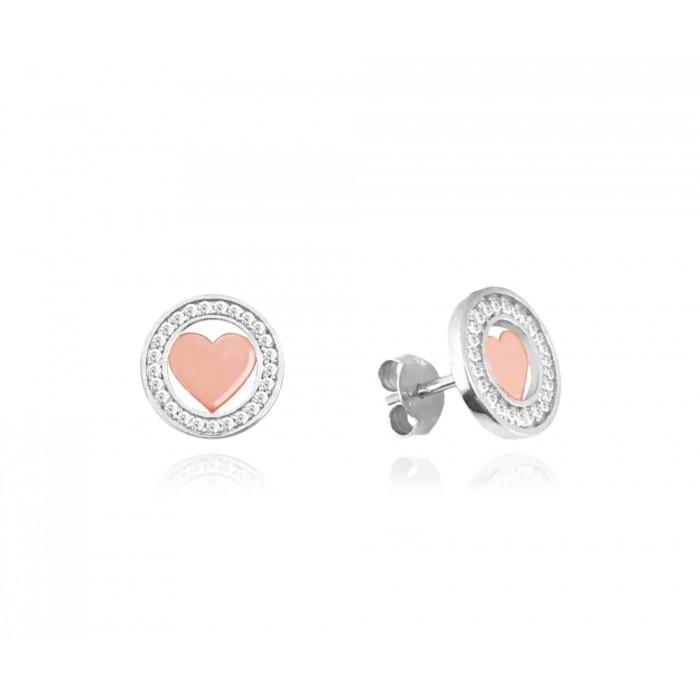 Kolczyki srebrne z białymi cyrkoniami - serce