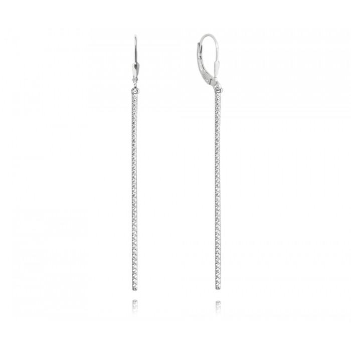Kolczyki srebrne z cyrkoniami - długie patyczki