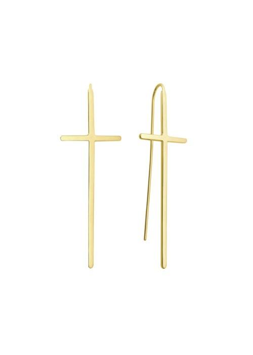 Kolczyki srebrne złocone - krzyż