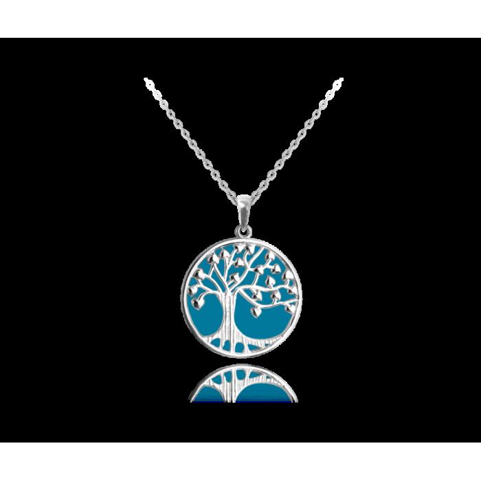 Naszyjnik srebrny święcący - drzewo życia