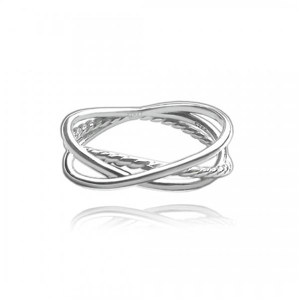 Pierścionek srebrny przeplatany