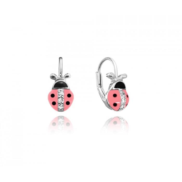 Kolczyki srebrne - biedronki różowe