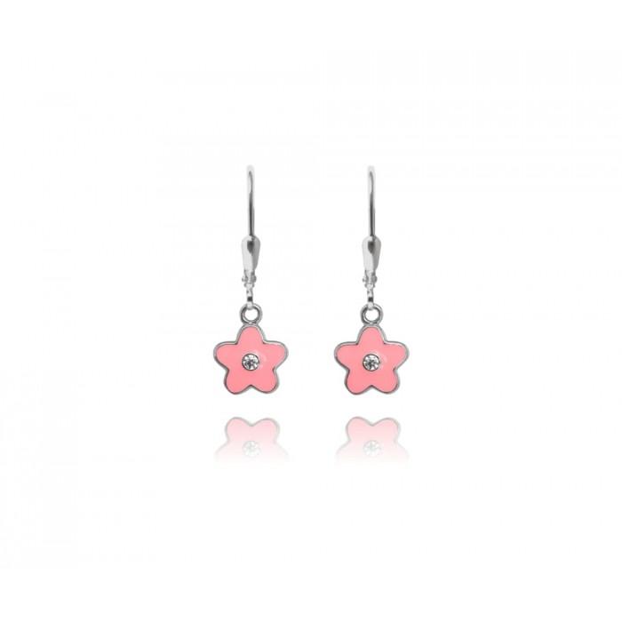 Kolczyki srebrne z cyrkoniami - różowe kwiaty