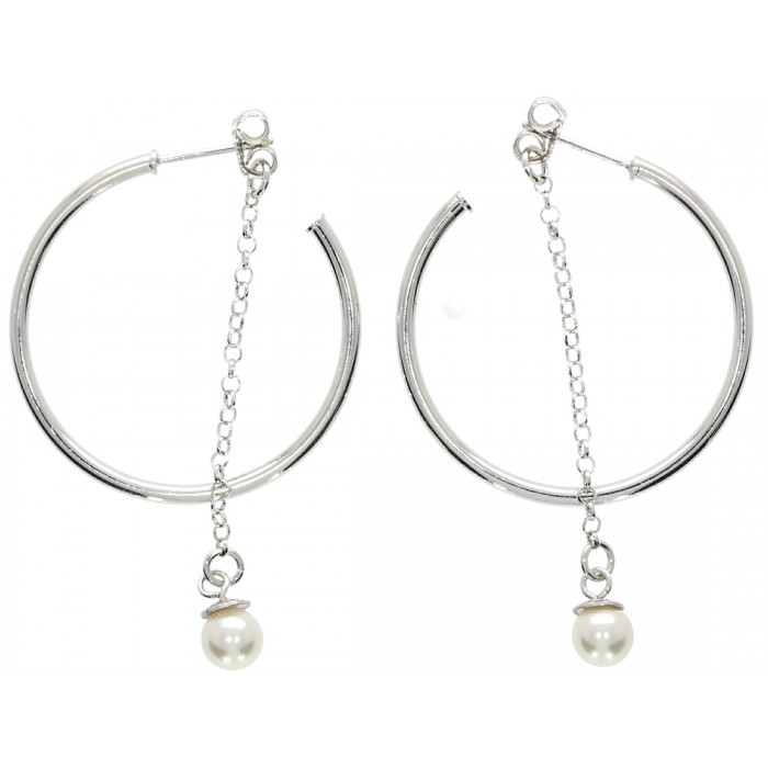 Kolczyki srebrne  z perłą