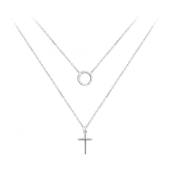 Naszyjnik srebrny podwójny z krzyżem i okręgiem