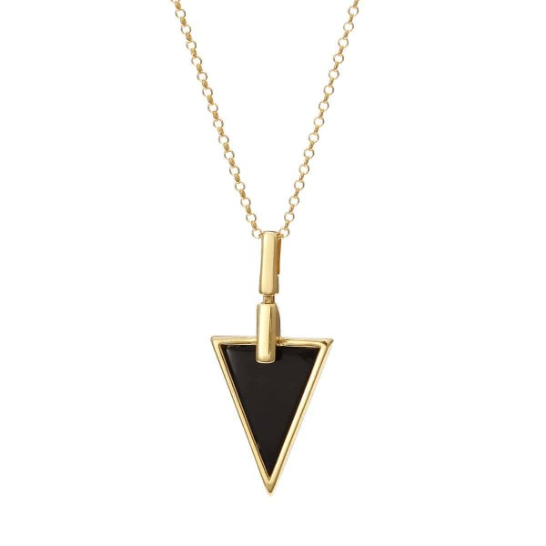 Naszyjnik srebrny pozłacany trójkąt z onyksem