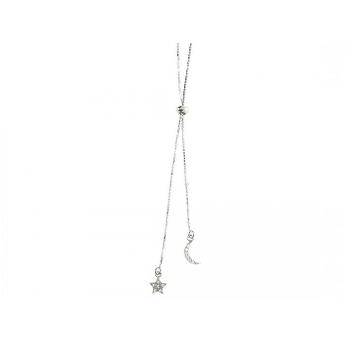 Naszyjnik srebrny rodowany - gwiazdka z księżycem