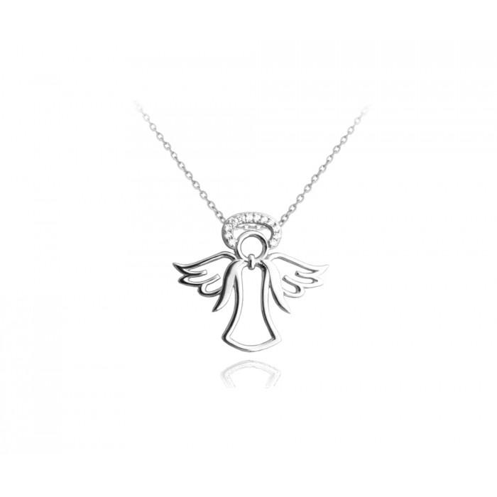 Naszyjnik srebrny rodowany - aniołek