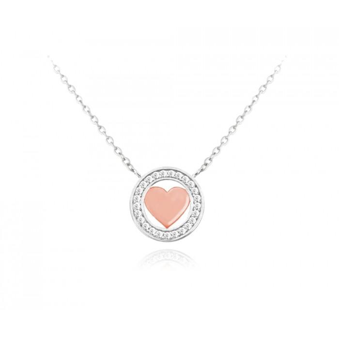 Naszyjnik srebrny z białymi cyrkoniami - serce