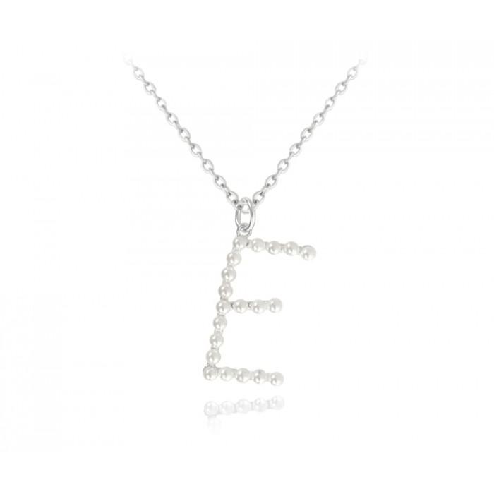 """Naszyjnik srebrny 925 perły litera """"E"""""""