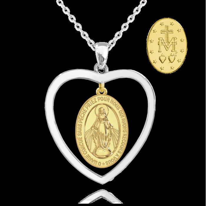 Naszyjnik srebrny - cudowny medalik pozłacany w sercu