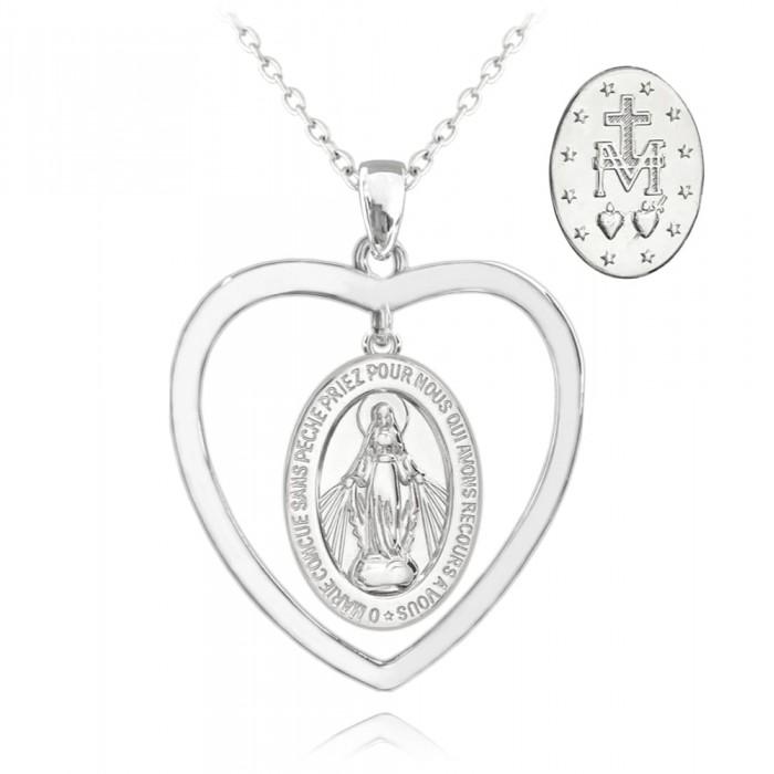 Naszyjnik srebrny - cudowny medalik w sercu